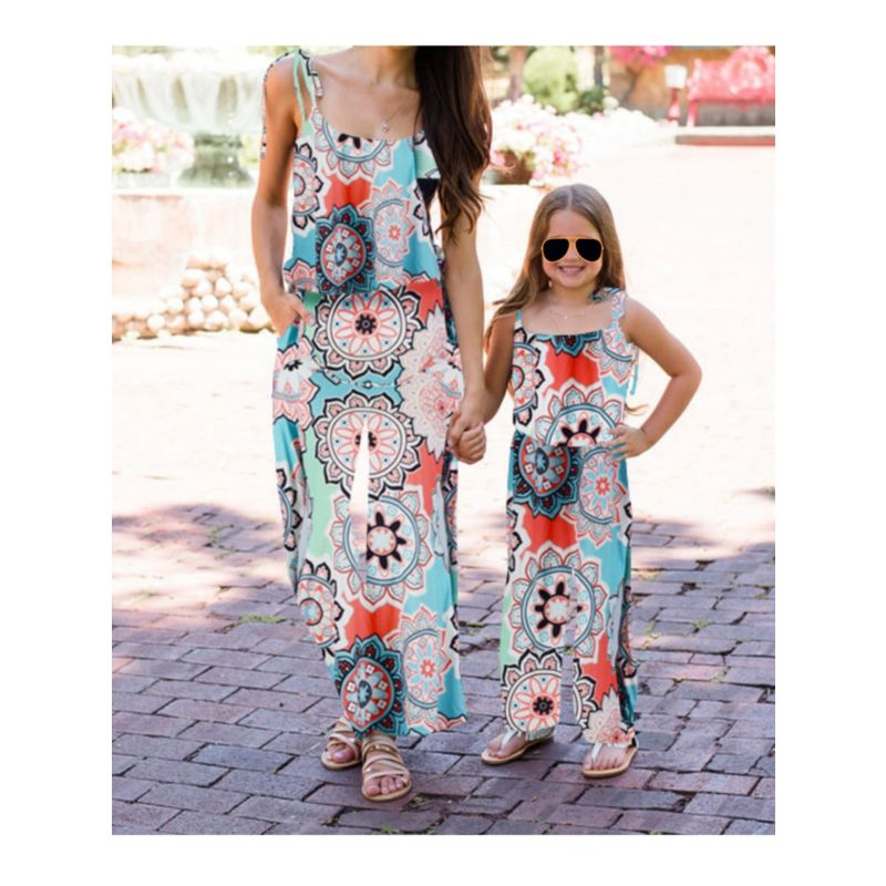 Mom and Daughter Flower Jumpsuit