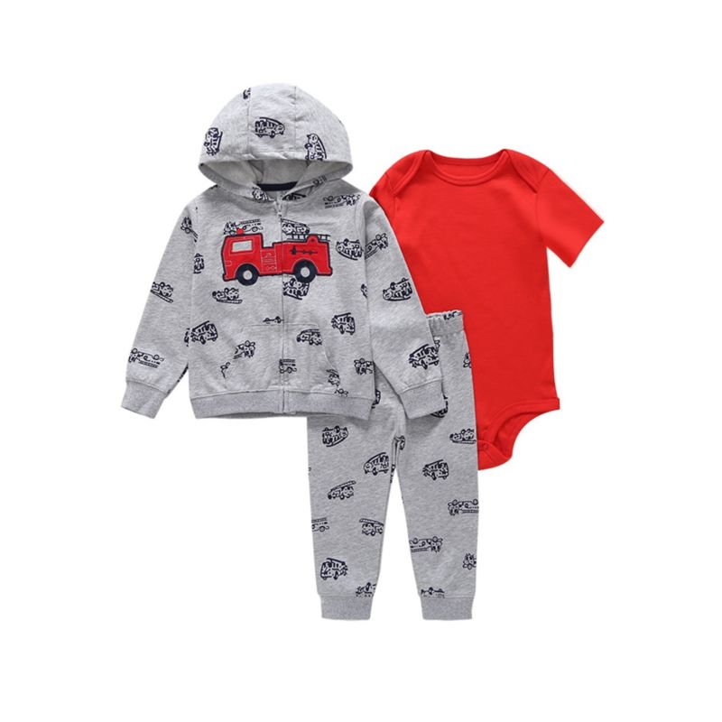 3-Piece Fall Baby Boy Hooded Jacket+Romper+Trousers Set