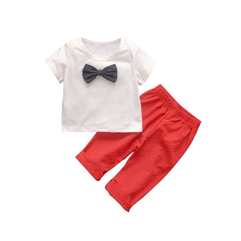 2-Piece Summer Bow Tee & Red Pants Set