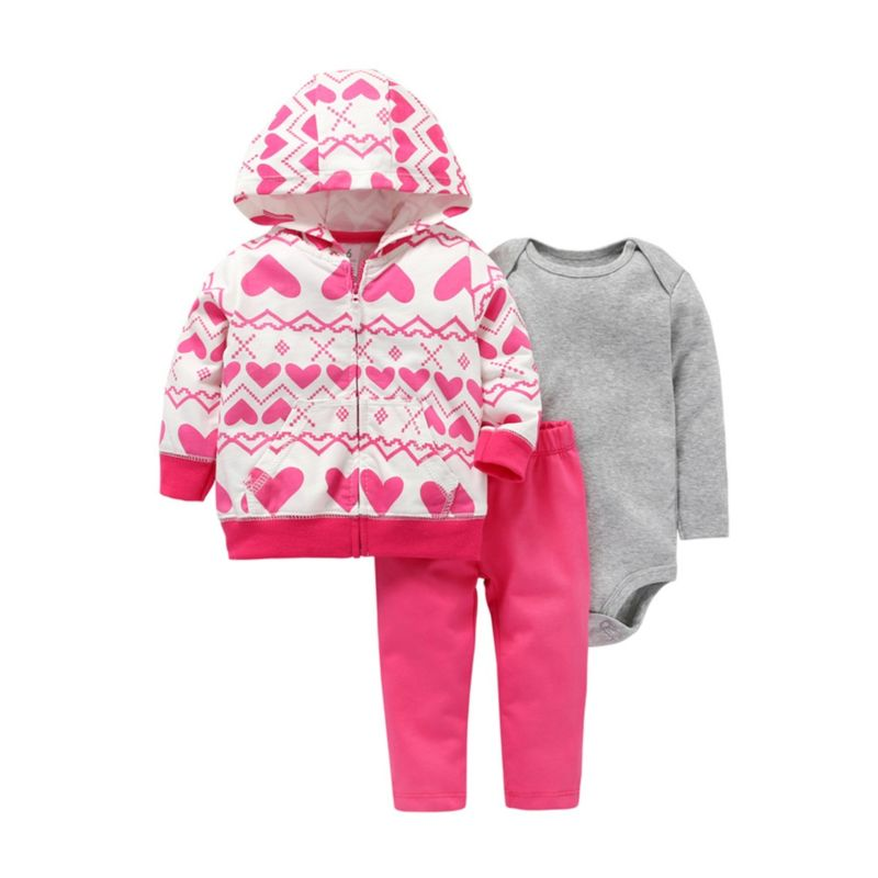 3-Piece Autumn Baby Girl Set Hooded Jacket+Romper+Trousers