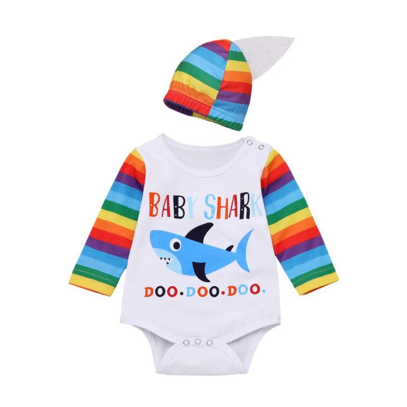 Fall Baby Shark Rainbow Color Bodysuit Matching Hat