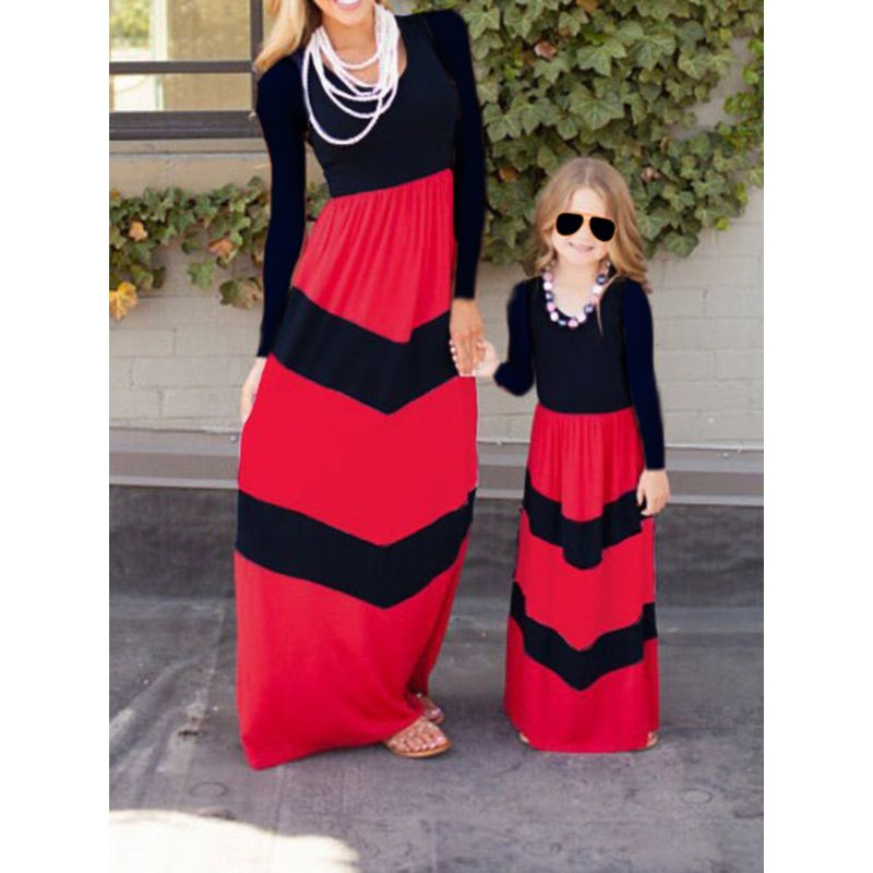 Mom and Daughter Color Blocking Dress Long-sleeved