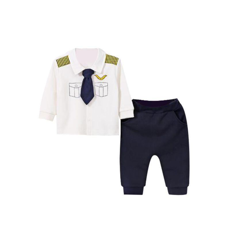 2-Piece Captain Style Baby Toddler Boy Tie Trim Top & Pants Set