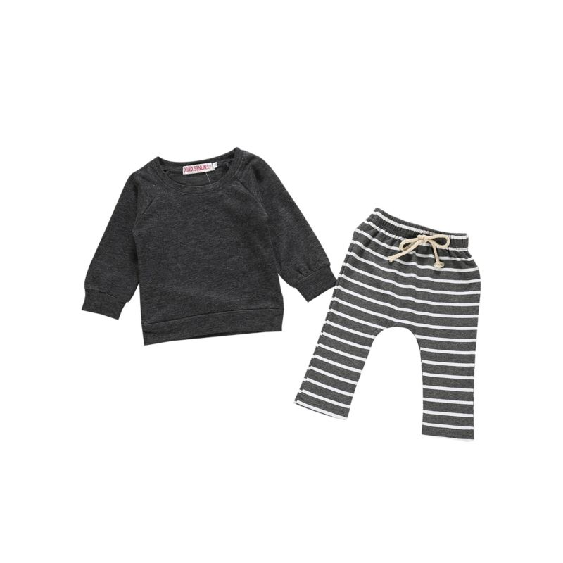 2-Piece Baby T-shirt Long-sleeved & Stripe Pull-on Pants Set