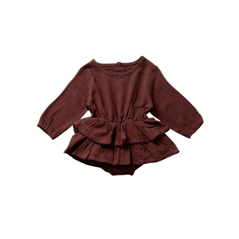 Fall Solid Color Ruffle Bodysuit Long-sleeved