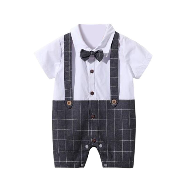 Summer British Style Baby Boy Jumpsuit with Bow Tie