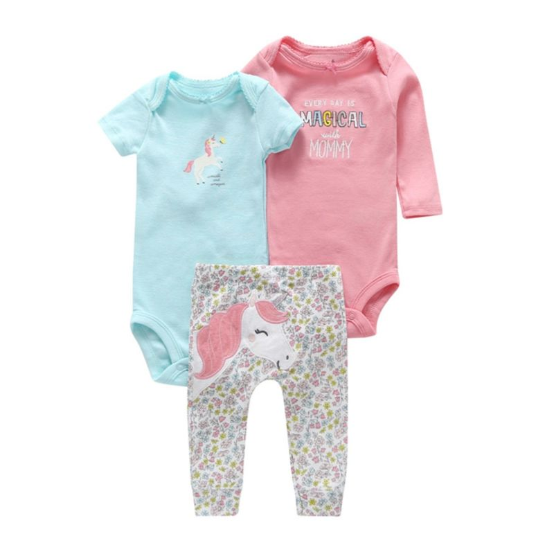 3-Piece Summer Spring Baby Girl Clothes Set Bodysuits & Trousers
