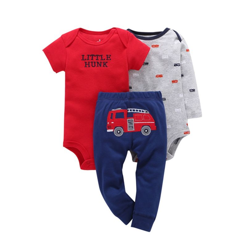 3-Piece Summer Spring Baby Boy Clothes Set Bodysuits & Trousers