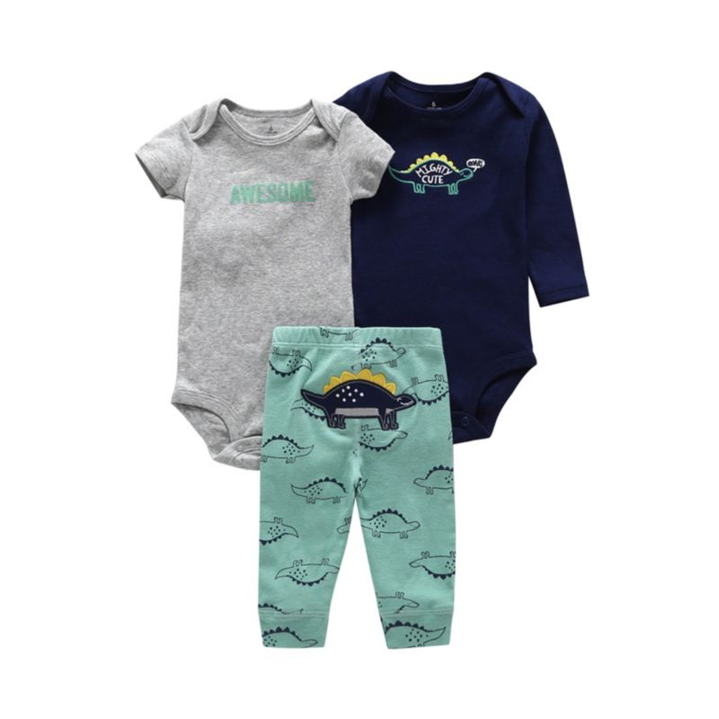 3-Piece Summer Spring Baby Boy Clothes Set Rompers & Trousers