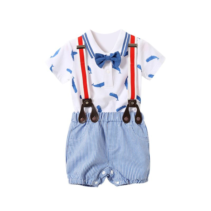 2-Piece Summer Baby Boy Whale Polo T-shirt with Bow Tie & Stripe Shortalls Set