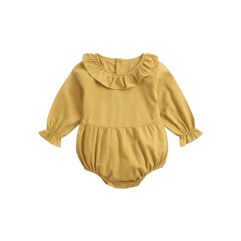 Fall Solid Color Cotton Baby Girl Romper
