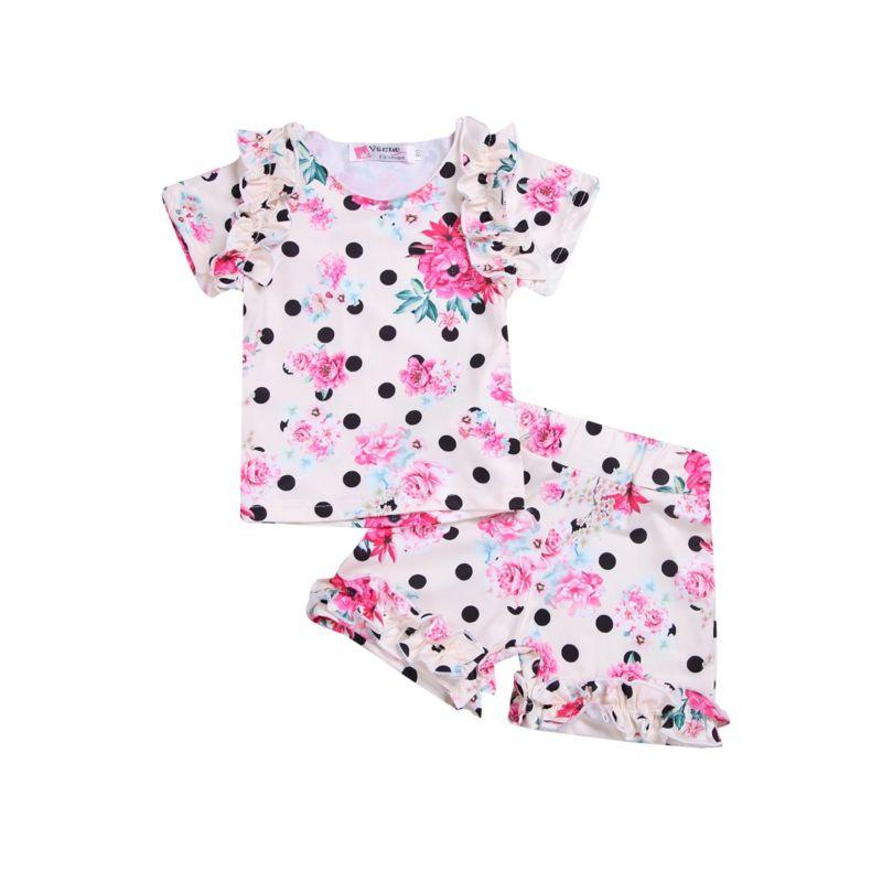 2-Piece Baby Toddler Girl Ruffle Flower Set Top & Ruffle Shorts
