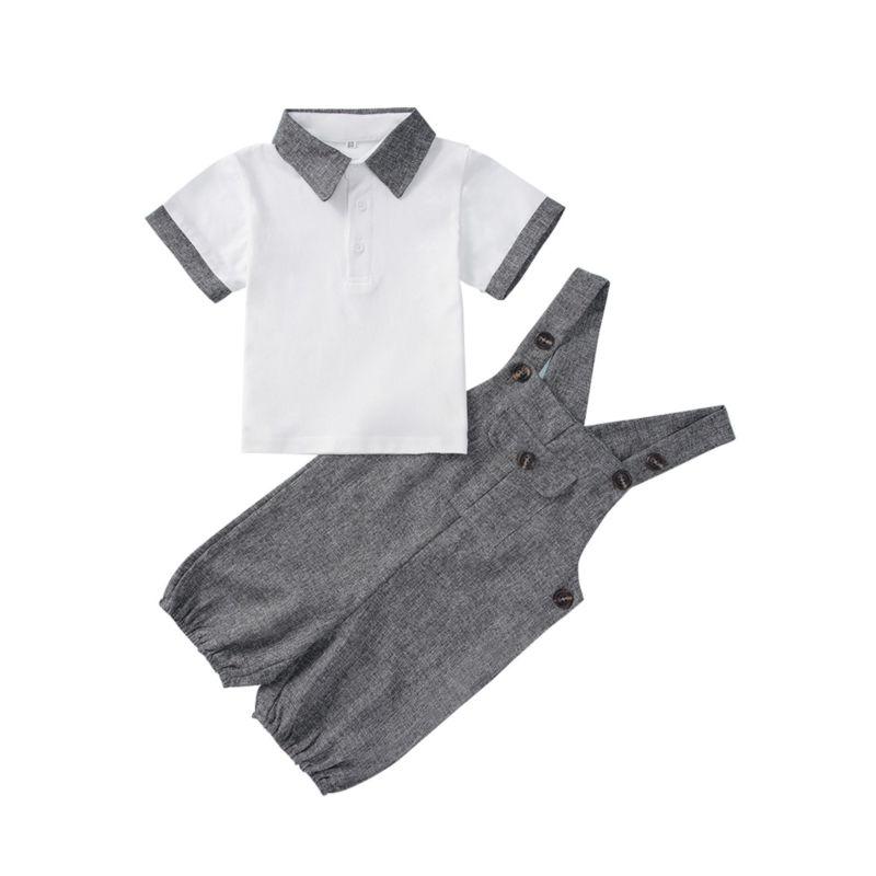 2-Piece Summer Baby Boy Polo T-shirt & Shortalls Set