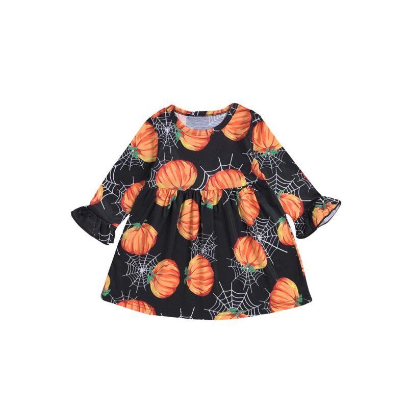 Baby Toddler Girl Halloween Pumpkin Spider Web Print Dress