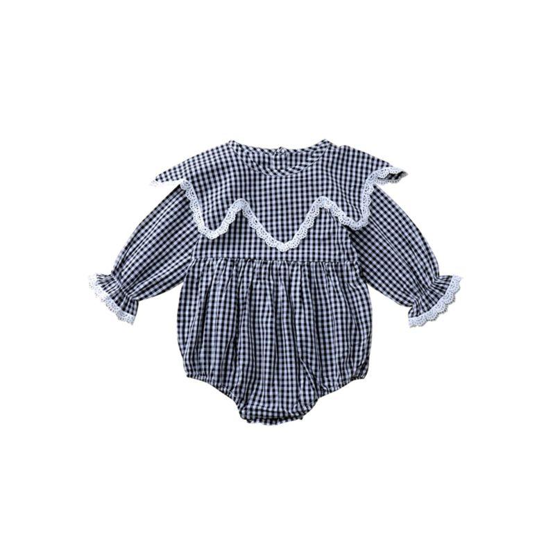 Spring Fall Plaid Baby Girl Romper Long-sleeved