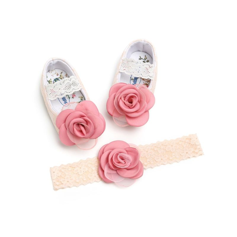 2-Piece Baby Girls Flower Trim Lace Princess Matching Headband