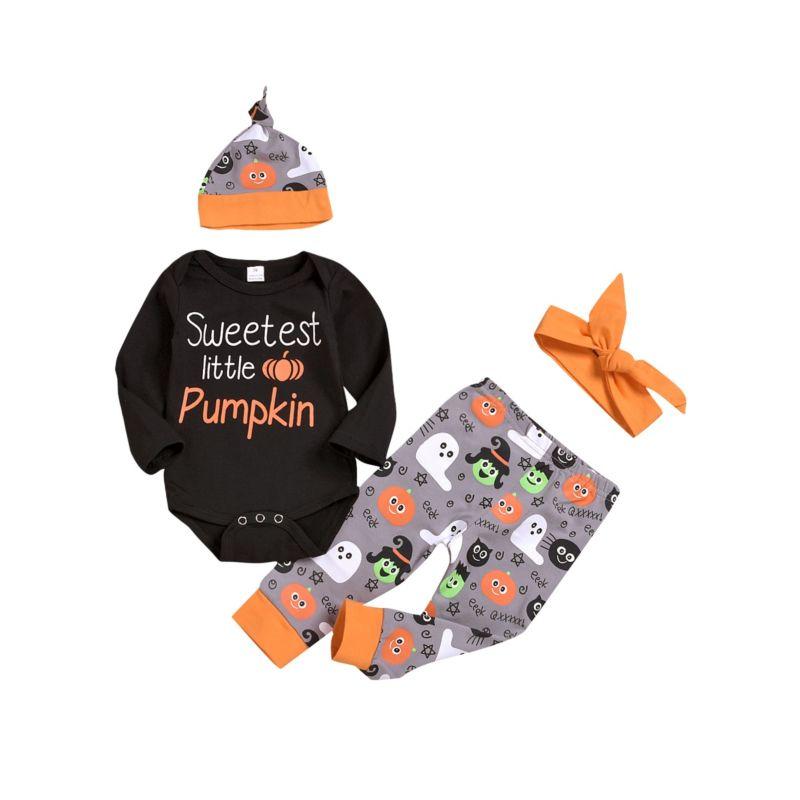 4-Piece Halloween Theme Baby Outfits Bodysuit+Pants+Hat+Headband