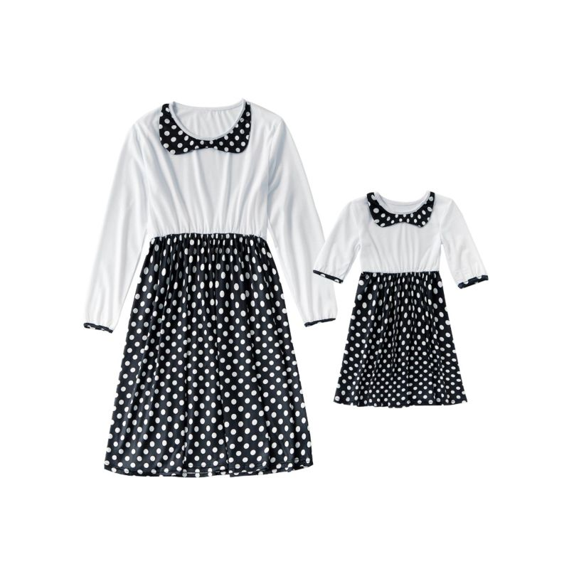 Mommy and Me Polka Dots Dress Long-sleeved