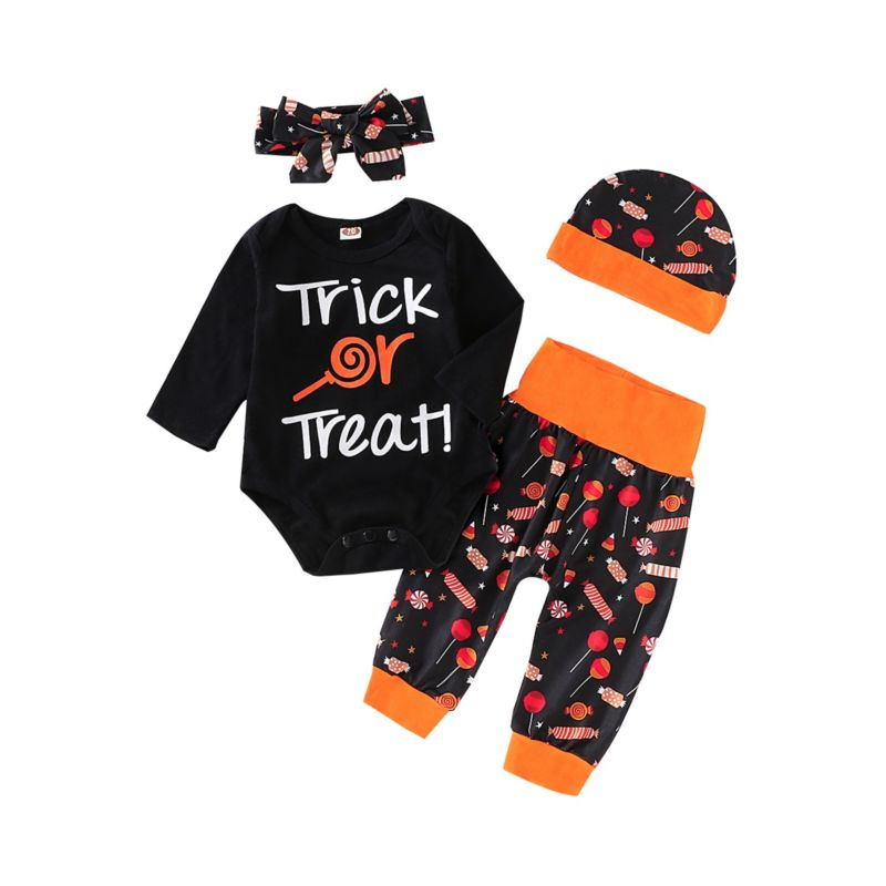 4-Piece Baby Halloween Trick or Treat Outfits Romper+Candy Pants+Headband+Hat