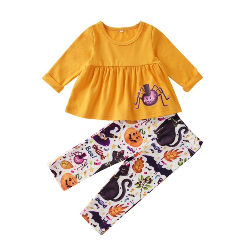 2-Piece Baby Toddler Girl Halloween Outfit Tunic & Pants