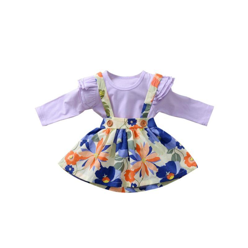 2-Piece Fall Baby Girl Flutter Sleeve Romper & Flower Suspender Skirt Set