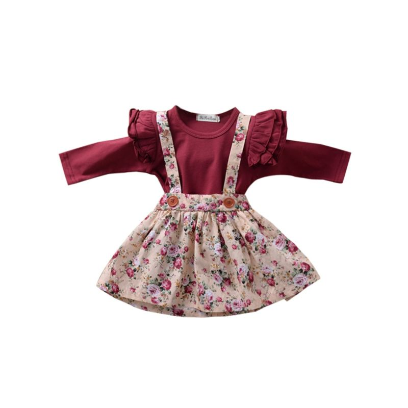 2-Piece Fall Baby Girl Clothes Outfit Flutter Sleeve Bodysuit & Floral Jumper Skirt