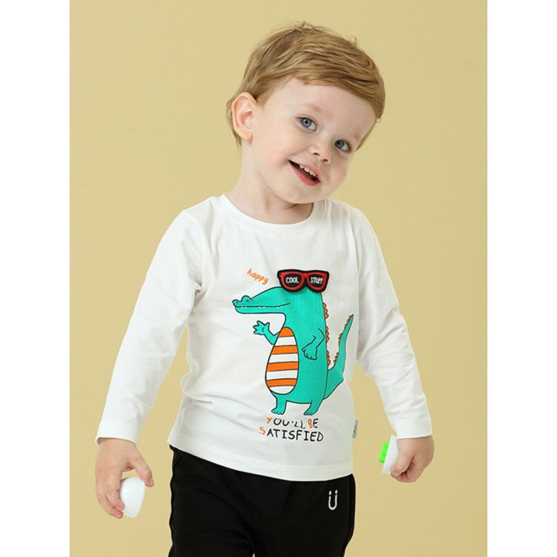 Cool Cartoon Dinosaur T-shirt Long-sleeved