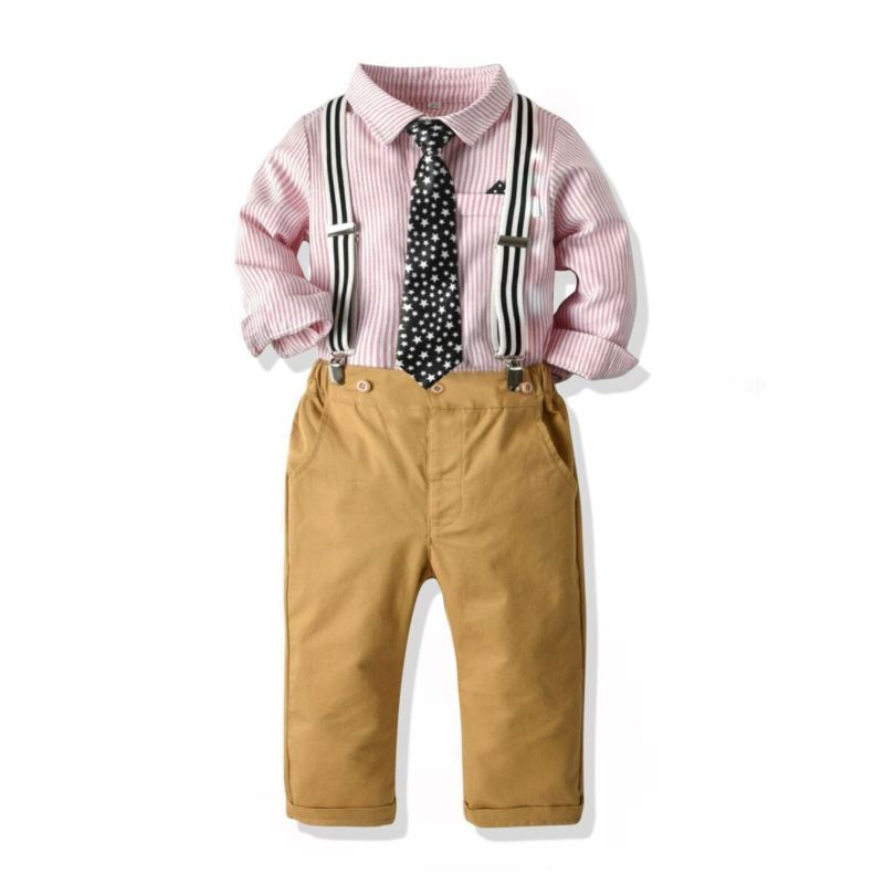 4-Piece Fall Toddler Boy Party Outfits Stripe Shirt with Star Tie+Adjustable Shoulder Straps Trousers