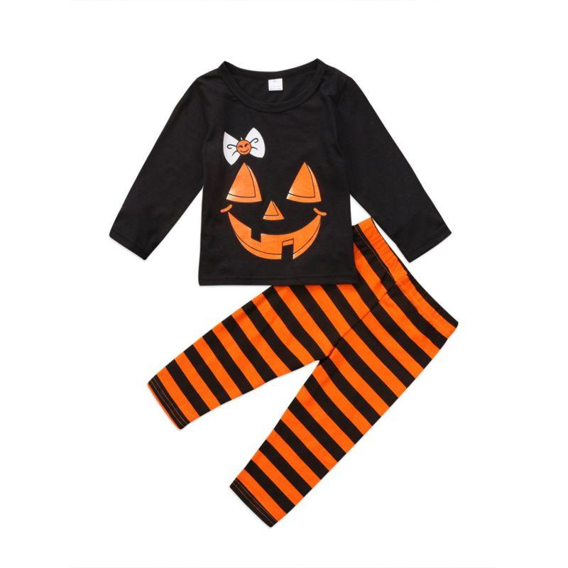 2-Piece Baby Toddler Girl Halloween Set T-shirt & Stripe Pants