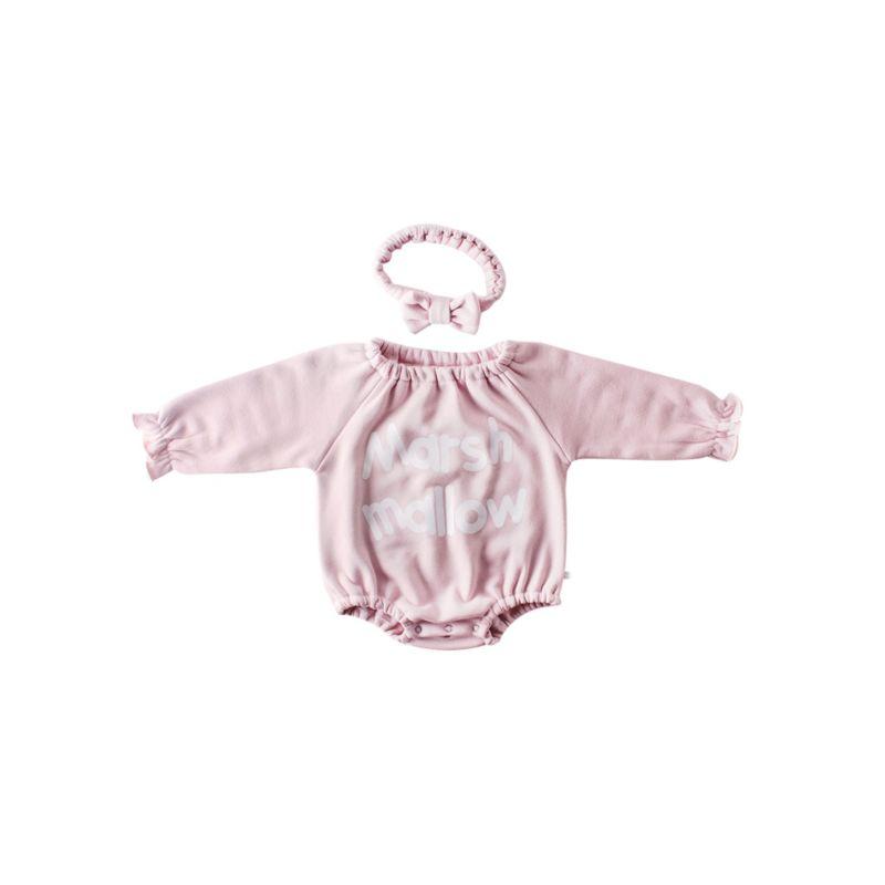 2-Piece Winter Baby Girls Fleece-lined Bodysuit & Headband Set