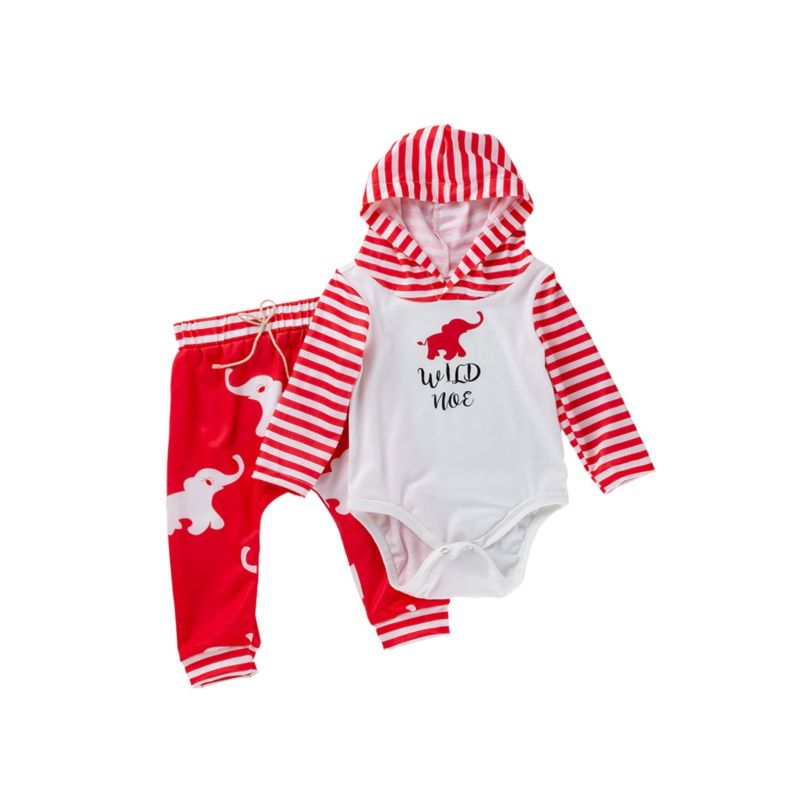 2-Piece Fall Wild Elephant Baby Outfits Hooded Romper & Trousers