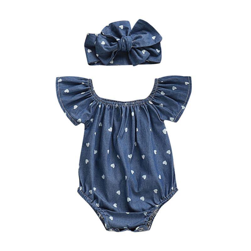 2-Piece Baby Girl Love Heart Off Shoulder Romper Matching Headband