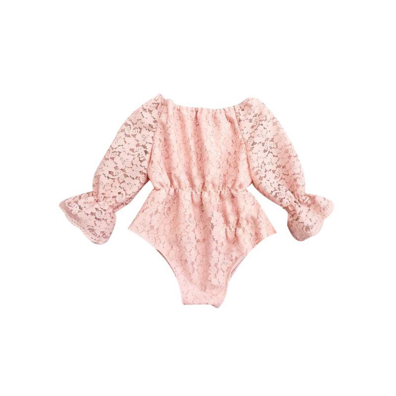 Baby Girl Pierced Flower Romper Pink/White