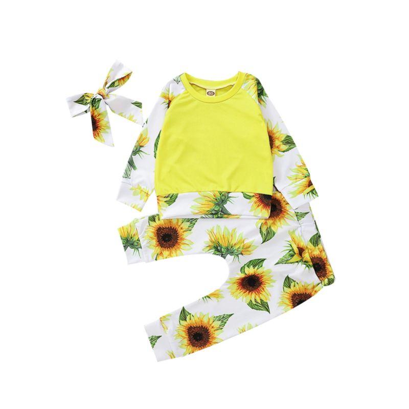 3-Piece Sunflower Clothes Set T-shirt & Pants & Headband