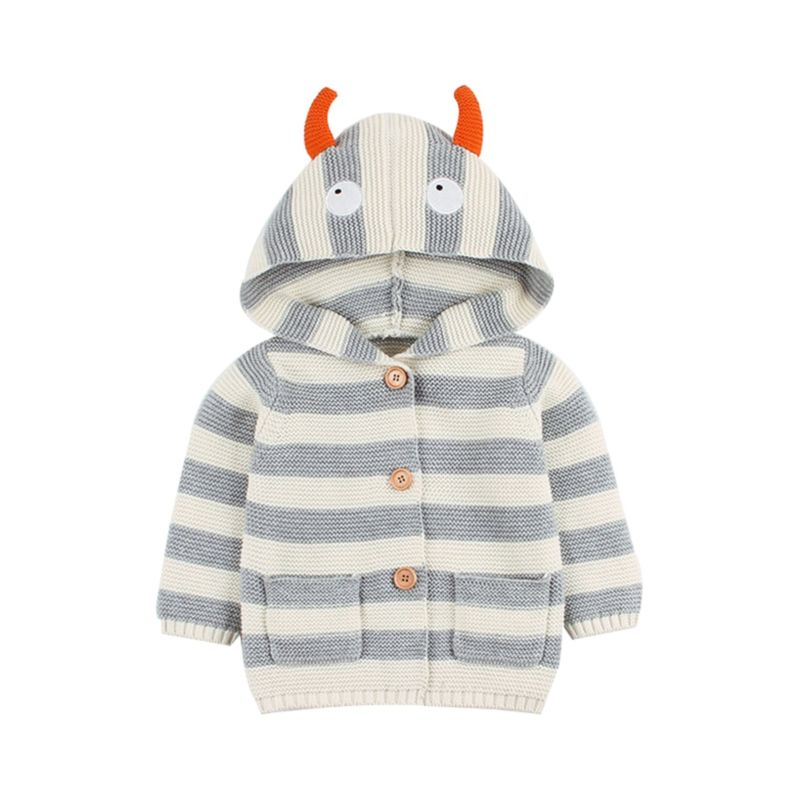 Autumn Baby Knit Animal Horn Style Hooded Jacket