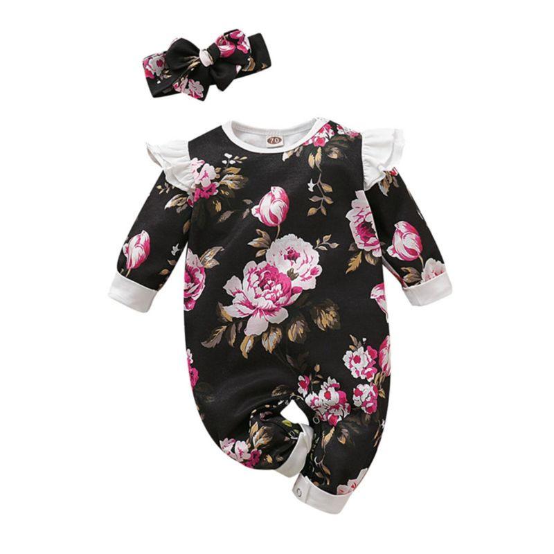 2-Piece Baby Girl Flutter Sleeve Flower Jumpsuit Matching Headband