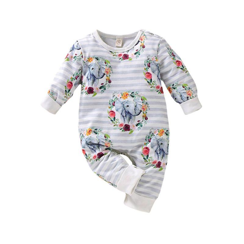 Flower Animal Print Baby Overalls Long-sleeved