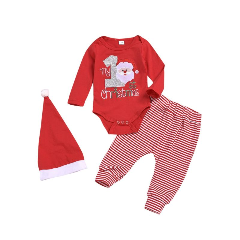 3-Piece Baby My 1st Christmas Set Santa Romper & Striped Pants & Hat
