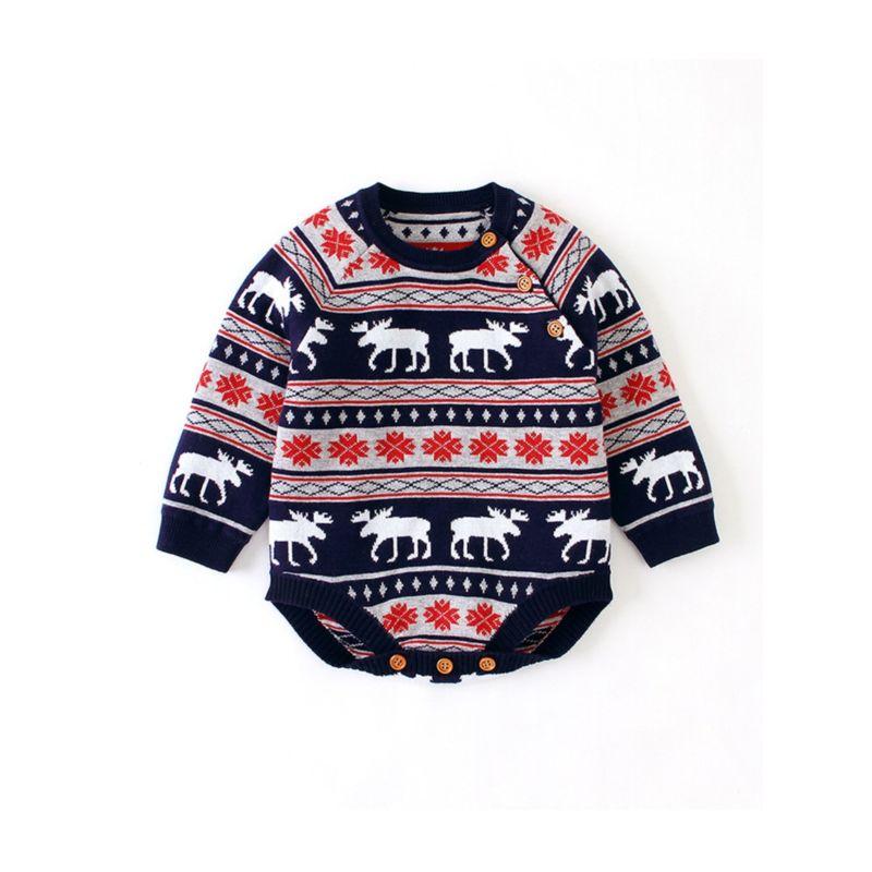 Snowflake Christmas Deer Knitted Baby Romper