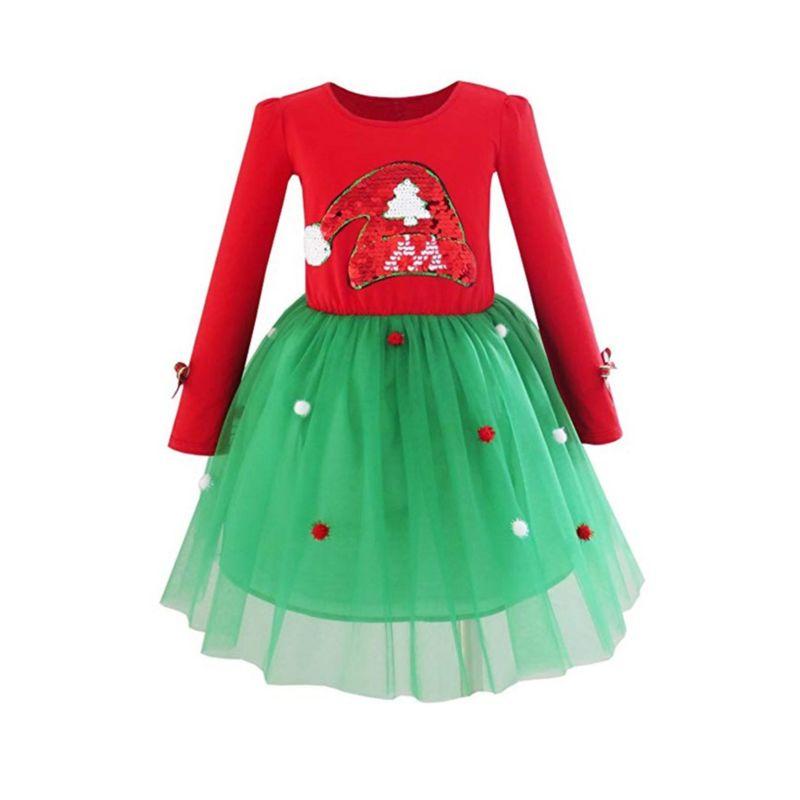 Pom-trim Sequins Christmas Tree Mesh Patchwork Dress