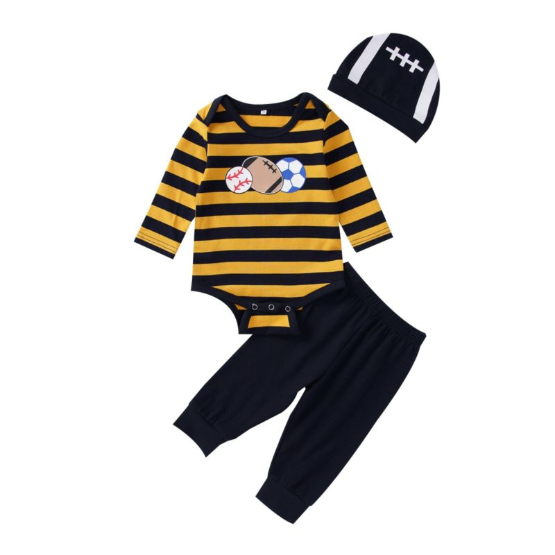 3-Piece Fall Baby Boy Clothes Set Stripe Romper+Pants+Hat