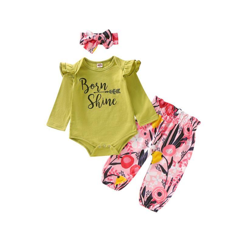 3-Piece Baby Girl Born Shine Arrow Print Set Flutter Sleeve Romper+Flower Pants+Headband