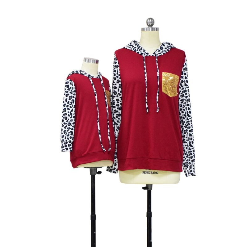 Mom and Me Fashion Sequins Leopard Print Hoodie