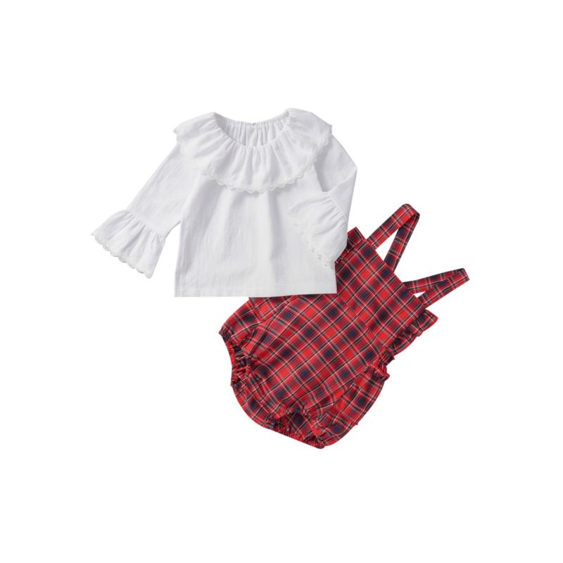 2-Piece Baby Girl Fall British Style Set White Top Matching Plaid Suspender Shorts