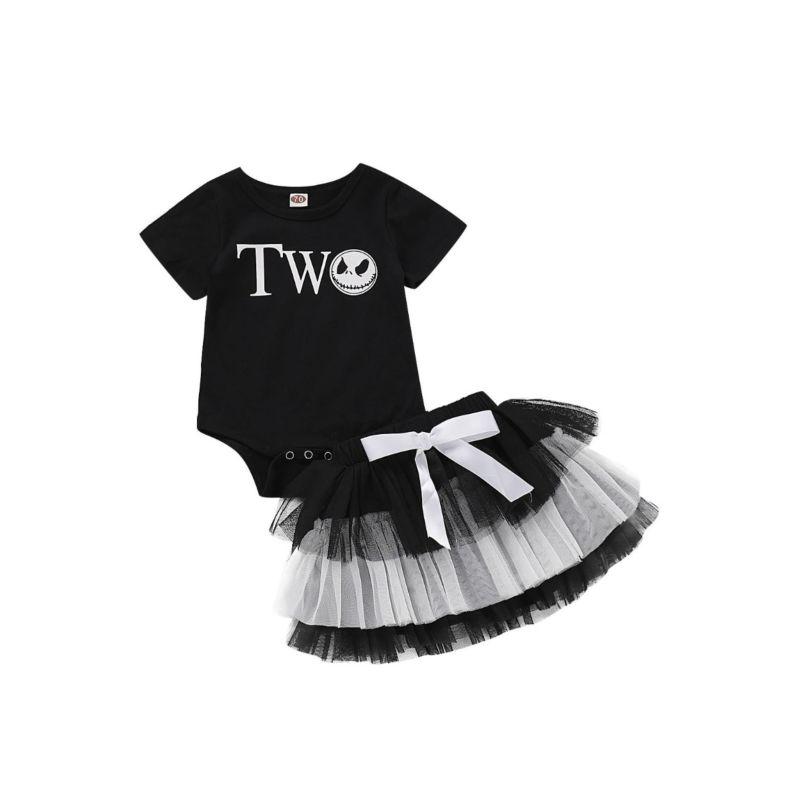 2-Piece Baby Girl Skull Halloween Set Bodysuit & Mesh Skirt