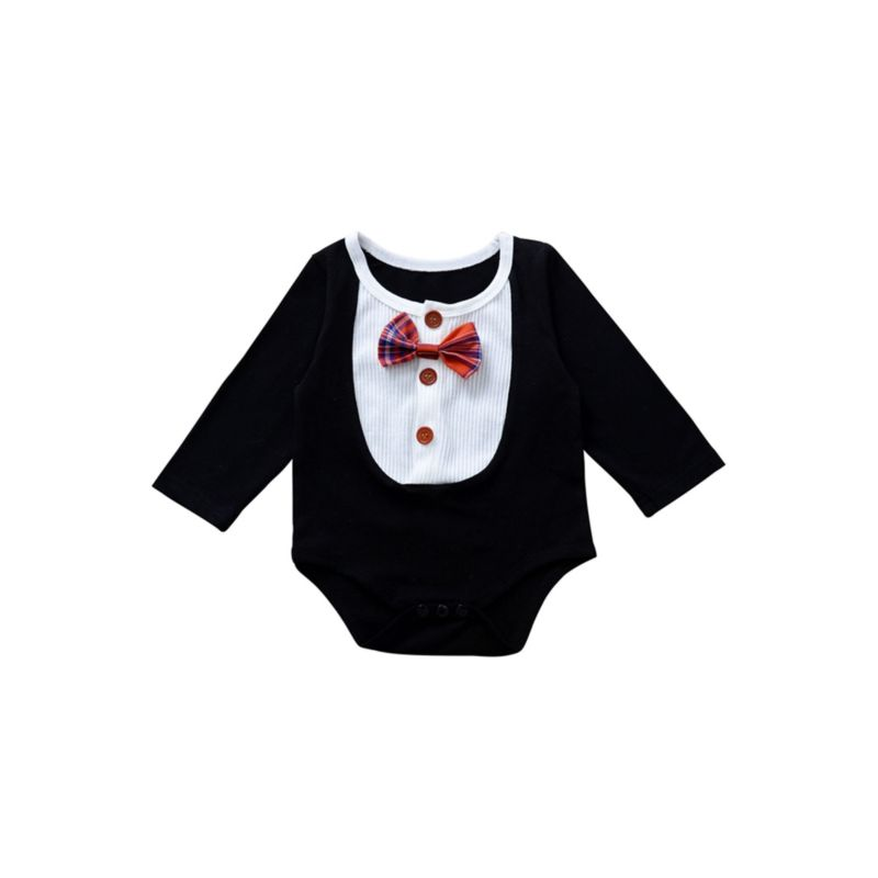 Fall Baby Bow Tie Romper