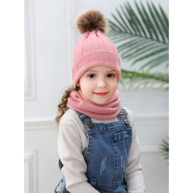 2-Piece Faux Fur Pom Knitted Beanie Hat Matching Scarf