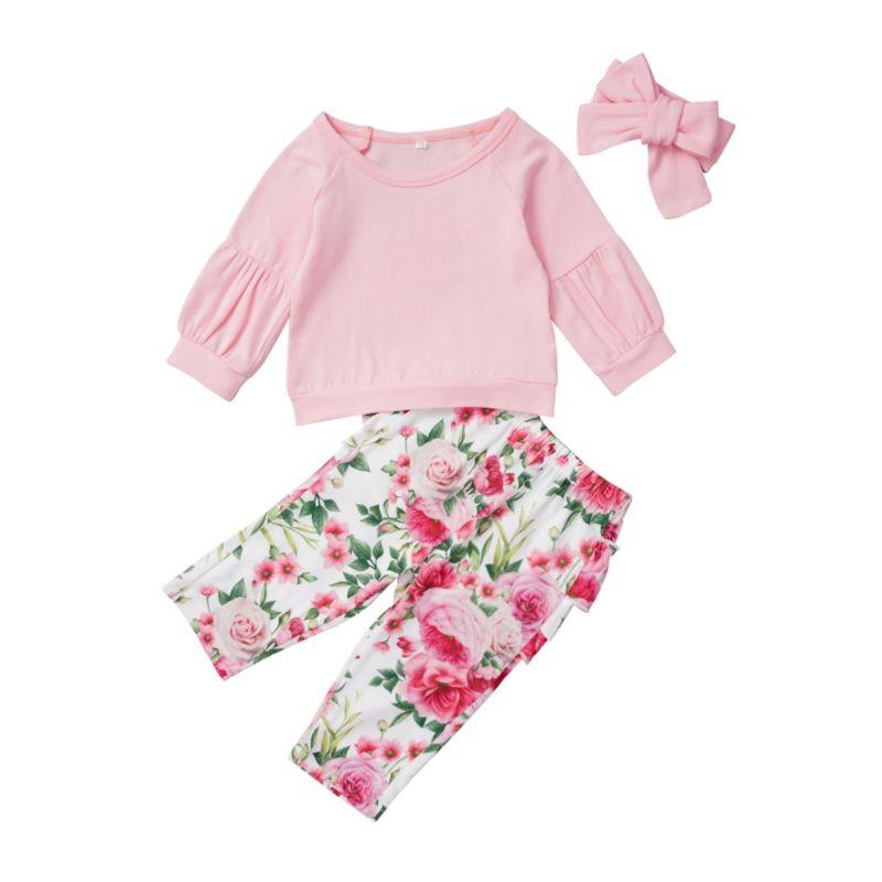 3-Piece Baby Girl Flower Set Pink Top & Flower Ruffle Pants & Headband