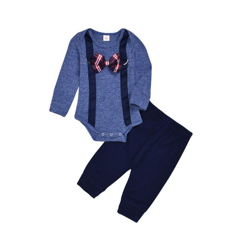 2-Piece Fall Baby Boy Set Bow Tie Romper & Pants