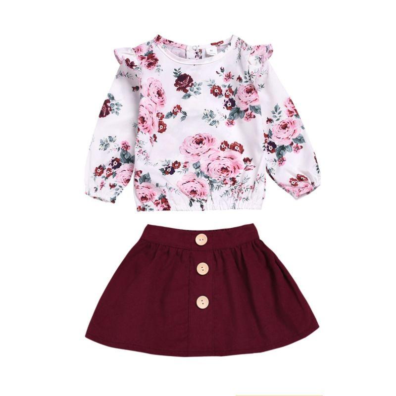 2-Piece Flower Flutter Sleeve Top Matching Skirt Set
